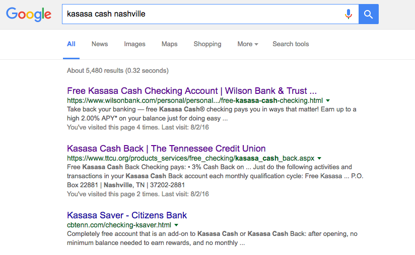 Google Search Results for Kasasa Cash Nashville